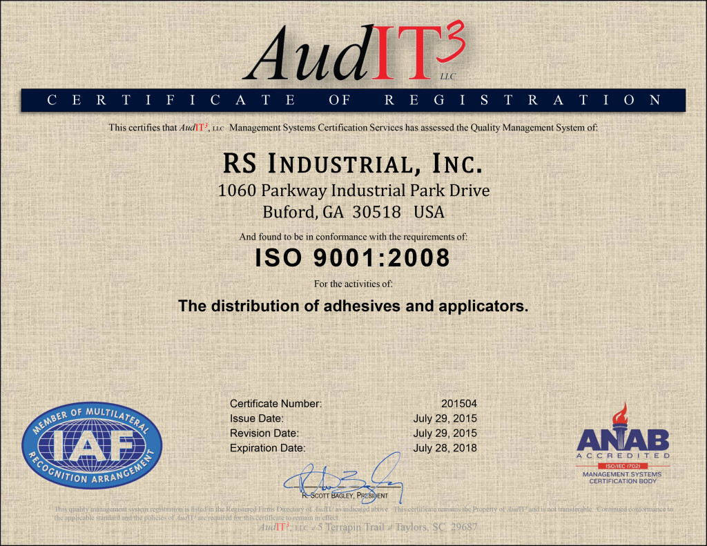 ISO 9001:2008 certified for the distribution of adhesives and applicators